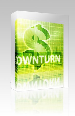 downturn: Software package box Software package box Downturn Finance illustration, dollar symbol over financial design Stock Photo