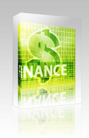 Software package box Software package box Finance illustration, dollar symbol over financial design illustration