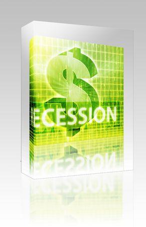 Software package box Software package box Recession Finance illustration, dollar symbol over financial design illustration