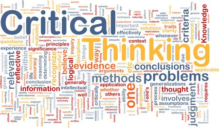Background concept wordcloud illustration of critical thinking strategy illustration