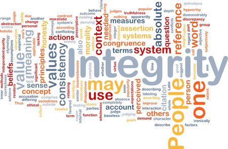 integridad: Ilustraci�n de wordcloud de concepto de fondo de los valores de principios de integridad