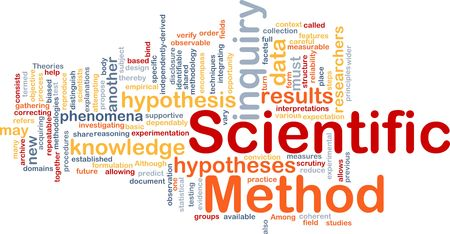 inquiry: Background concept wordcloud illustration of scientific method research Stock Photo