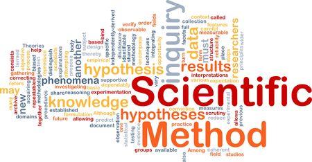 hipotesis: Ilustración de wordcloud de concepto de fondo de investigación del método científico Foto de archivo