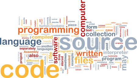 compiler: Background concept wordcloud illustration of source code programming