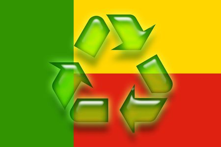 benin: Flag of Benin, national country symbol illustration eco recycling