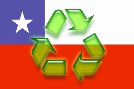 chilean: Flag of Chile, national symbol illustration clipart eco recycling Stock Photo