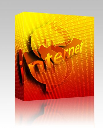 Software package box Internet background, with US Dollar currency illustration illustration