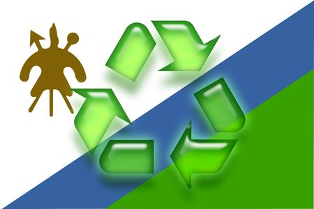 lesotho: Flag of Lesotho, national country symbol illustration eco recycling