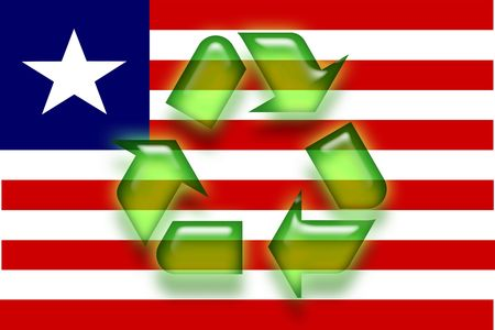 Flag of Liberia, national country symbol illustration eco recycling illustration