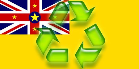 niue: Flag of Niue, national country symbol illustration eco recycling