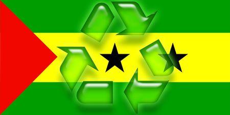 principe: flag of Sao tom� y pr�ncipe , national country symbol illustration eco recycling  Foto de archivo