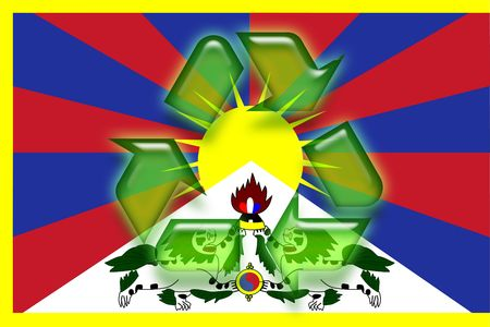 tibet: Flag of Tibet, national symbol illustration clipart eco recycling