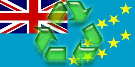 tuvalu: Flag of Tuvalu, national country symbol illustration eco recycling