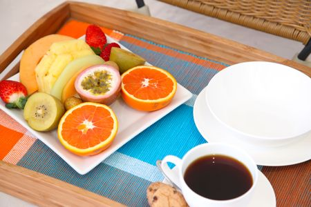 Elegant breakfast tray of tropical exotic fruits snacks Stock Photo - 6279525