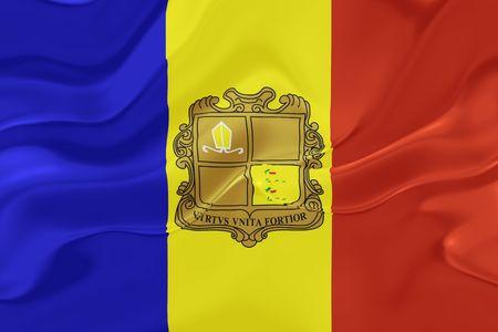 Flag of Andorra, national country symbol illustration wavy fabric illustration