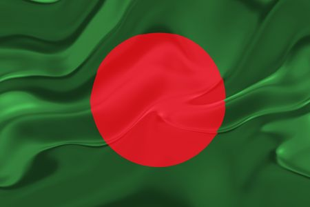 bangladesh: Flag of Bangladesh, national country symbol illustration wavy fabric Stock Photo