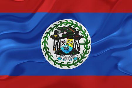 belize: Flag of Belize, national country symbol illustration wavy fabric