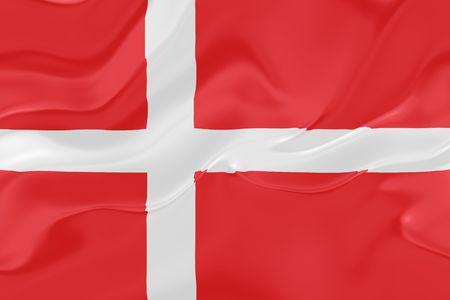 Flag of Denmark, national country symbol illustration wavy fabric illustration