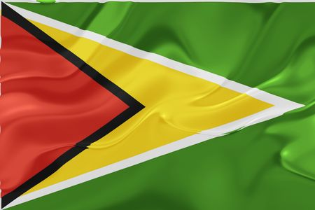 Flag of Guyana, national country symbol illustration wavy fabric illustration