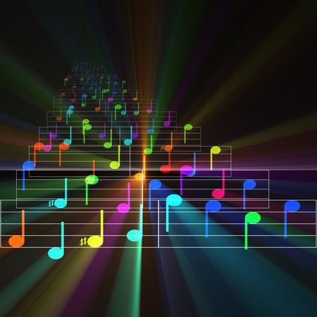 rhyme: Colorful notes sheet music cheerful musical concept background illustration glowing light