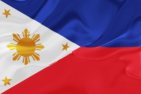 philippines: Flag of Philippines, national country symbol illustration wavy fabric