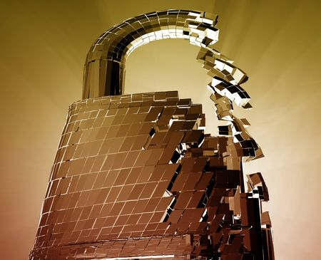 compromise: Hacking bypass compromised security with broken lock  concept illustration