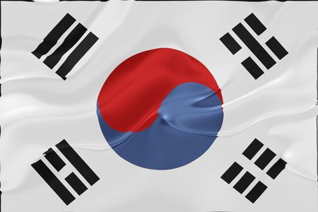 Flag of South Korea, national country symbol illustration wavy fabric illustration