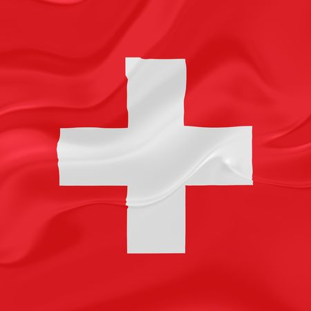 Flag of Switzerland, national symbol illustration clipart wavy fabric illustration