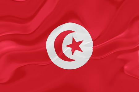 Flag of Tunisia, national country symbol illustration wavy fabric Stock Illustration - 6287669