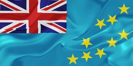 tuvalu: Flag of Tuvalu, national country symbol illustration wavy fabric Stock Photo