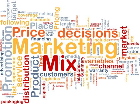 wordcloud: Background concept wordcloud illustration of marketing mix strategy Stock Photo