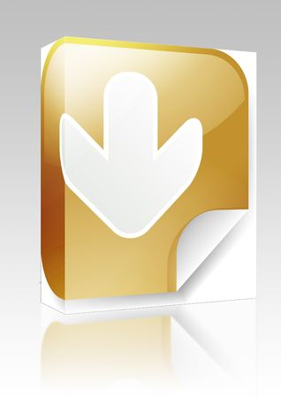 descend: Software package box Navigation icon sticker with arrow pointing down Stock Photo