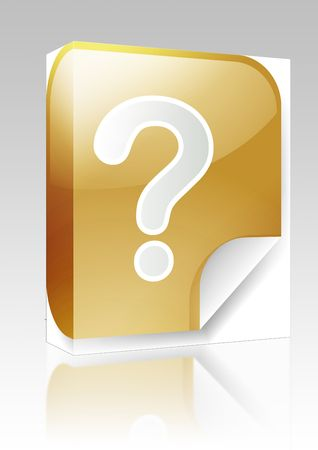 interrogative: Software package box Navigation icon sticker button with question mark Stock Photo