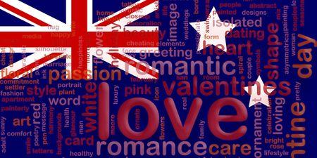 Flag of Australia, national country symbol illustration love romance illustration