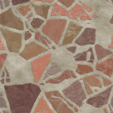 flooring: Broken stone mosaic pattern, background texture wallpaper illustration Stock Photo