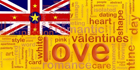 niue: Flag of Niue, national country symbol illustration love romance Stock Photo