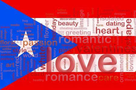 bandera de puerto rico: Bandera de Puerto Rico, ilustraci�n de s�mbolo nacional del pa�s del amor romance