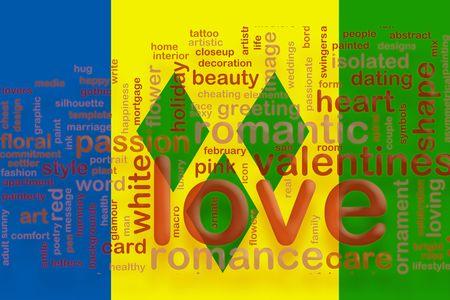 grenadines: Flag of Saint Vincent and Grenadines, national country symbol illustration love romance