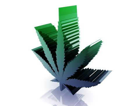 Marijuana cannabis leaf illustration glossy metal style isolated Stock Illustration - 6289745
