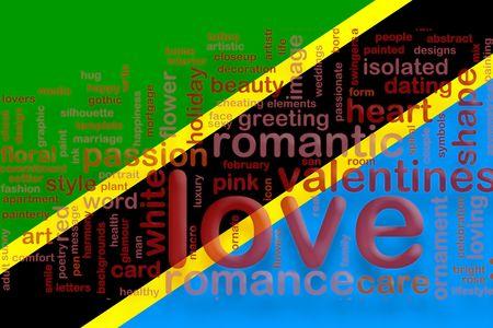 Flag of Tanzania, national country symbol illustration love romance illustration