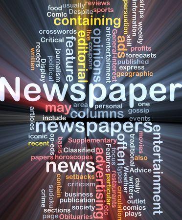 online newspaper: Background concept illustration of newspaper news paper glowing light