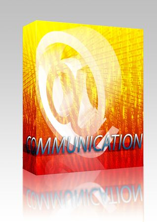 newsgroup: Software package box Internet communication illustration for blogs chat newsgroup forums bulletin boards