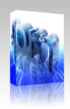 url: Software package box Dot com website internet web url Asia illustration