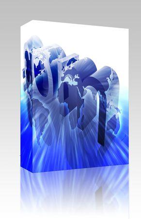 url: Software package box Dot com website internet web url worldwide illustration