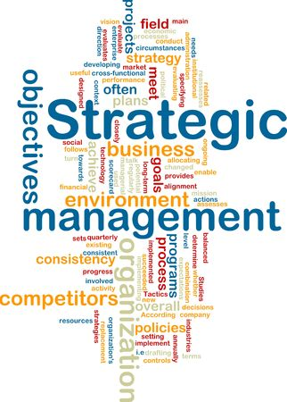 Word cloud tags concept illustration of strategic management Stock Illustration - 6294105