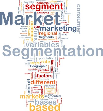 Background concept wordcloud illustration of business market segmentation illustration
