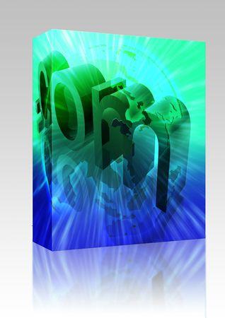 Software package box Dot com website internet web url Asia illustration Stock Illustration - 6301861