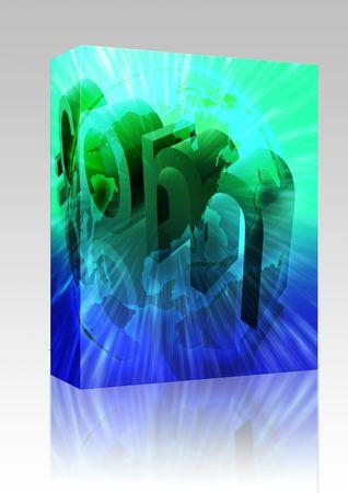 url: Software package box Dot com website internet web url USA illustration Stock Photo