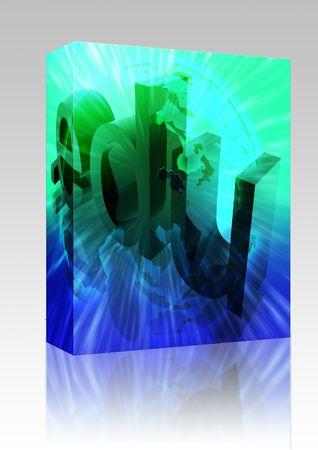 Software package box Dot edu education internet web url Asia illustration Stock Illustration - 6301909