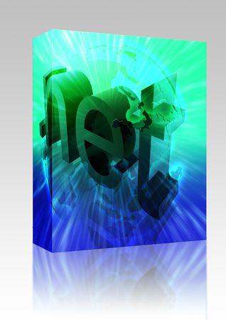 url: Software package box Dot net internet web url Asia worldwide illustration